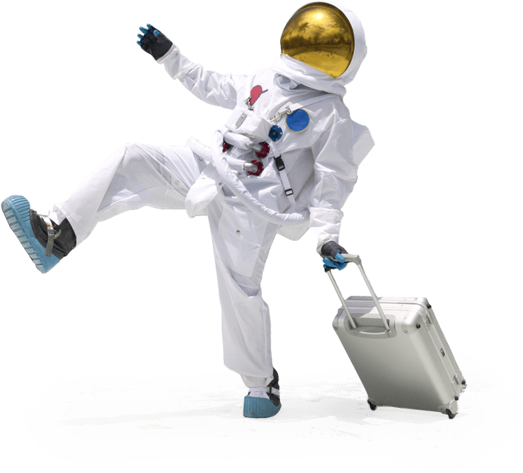 Spaceman taking a large step with a suitcase on wheels